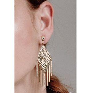 LUV AJ Hammered Triangle Fringe Earrings Gold